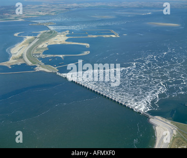 Aerial view of the Delta Works in Holland - Stock Photo