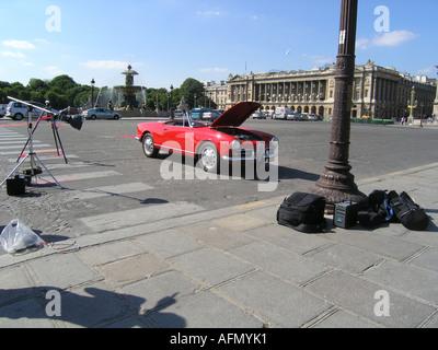 Alfa Romeo Giulietta Spider in professional magazine photoshoot at Place de la Concorde Paris France - Stock Photo