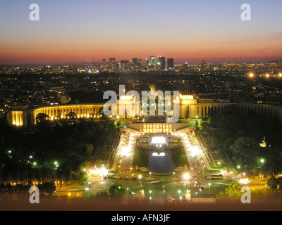 Evening view of Paris from Eiffel Tower France - Stock Photo