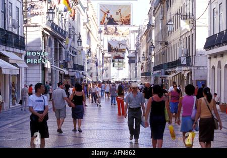 Portugal Lisbon Rua Augusta the main shopping street in the centre of Lisbon - Stock Photo