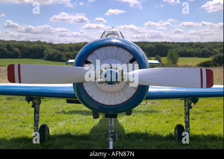 Front of an vintage Russian WW2 propeller plane These are now used for aerobatic stunt flying - Stock Photo