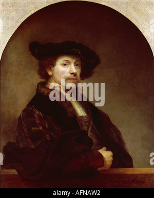'fine arts, Rembrandt, (15.7.1606 - 4.10.1669), painting, 'Self Portrait at the Age of 34', 1640, oil on canvas, - Stock Photo