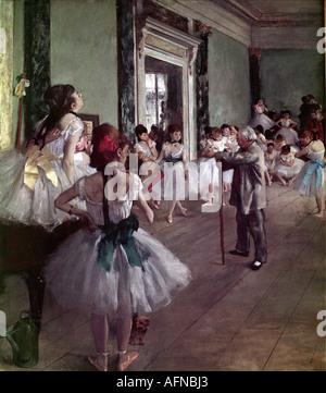 'fine arts, Degas, Edgar (1834 - 1917), painting, 'Dance Class), 1874, oil on canvas, Musee d' Orsay, Paris, 'Classe - Stock Photo