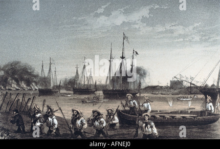 events, Second Opium War 1856 - 1860, attack against the Taku forts, 20.5.1858, engraving by Hanhart after Dedwell, - Stock Photo