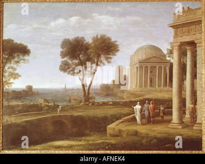 'fine arts, Lorrain, Claude, (1600 - 1682), painting 'landscape with Aeneas at Delos', 1672, oil on canvas, 99,6 - Stock Photo