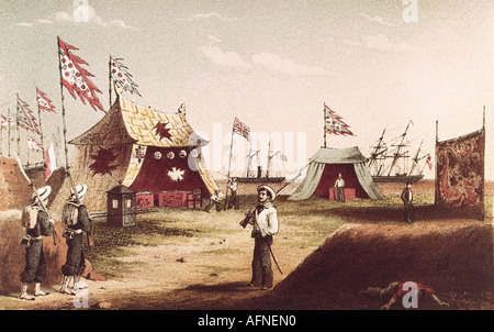 events, Second Opium War 1856 - 1860, treaties of Tientsin, 26.6.1858 - 29.6.1858, Chinese tents for the reception - Stock Photo