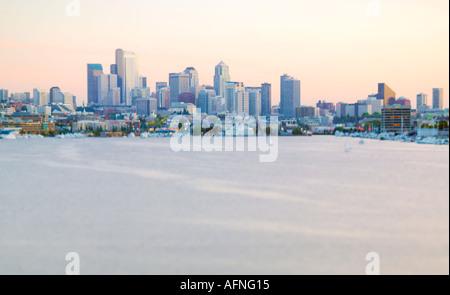 Seattle skyline seen from Gasworks Park Washington USA - Stock Photo