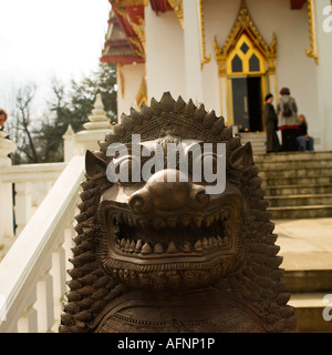 Wat Buddhapadipa Thai Buddhist temple in Wimbledon London No release required, people far away and blurred unrecognizable - Stock Photo