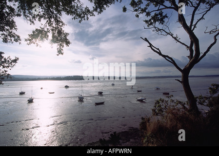 The Exe Estuary at Lympstone Devon during Low Tide with Assorted Small Boats on the Exposed Mud Photographed into - Stock Photo