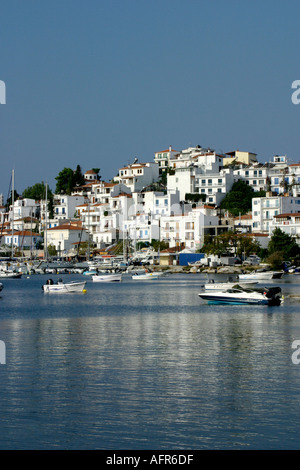 Skiathos Greece Greek Island Sporades Aegean Pelion Skiathos town looking towards new harbour - Stock Photo