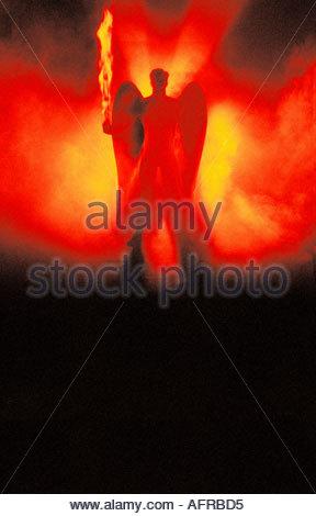 Angel with burning sword - Stock Photo
