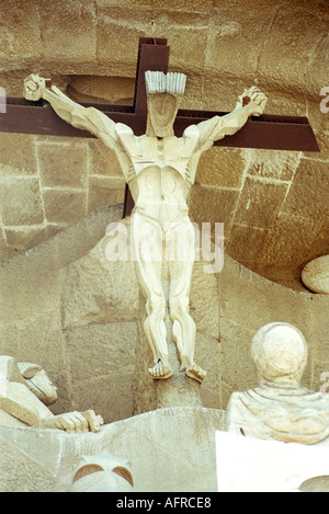 The sculptures on the south western wall of La Sagrada Familia in Barcelona were designed by artist Josep Subirachs - Stock Photo