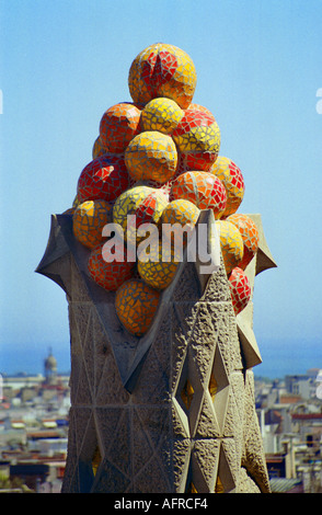Spire by a tower of Gaudi s famous cathedral La Sagrada Familia in Barcelona Spain - Stock Photo
