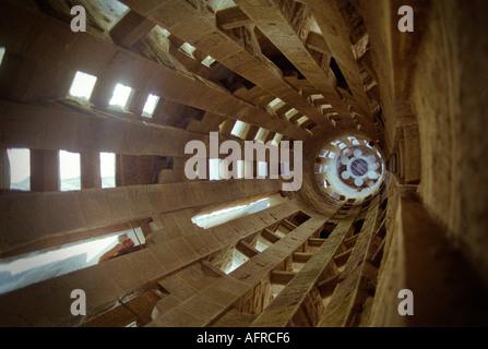 Inside a tower in Gaudi s famous cathedral La Sagrada Familia in Barcelona Spain - Stock Photo