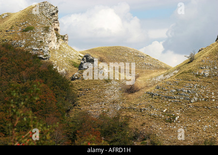 Glorious colour Sasso Tetto  mountain in the Sibillini National Park,Le Marche,the Marches, Italy - Stock Photo