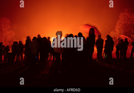 5th November Guy Fawkes night bonfire and crowds - Stock Photo