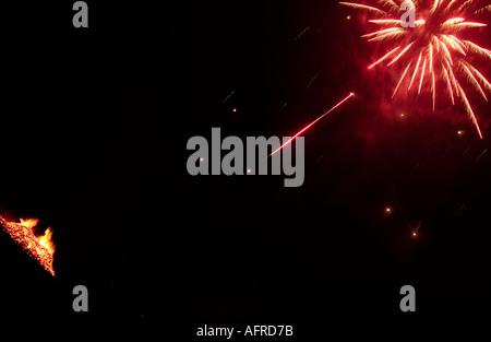 5th November Guy Fawkes night Bonfire and firework - Stock Photo
