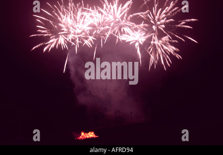 5th November Guy Fawkes night fireworks bonfire - Stock Photo