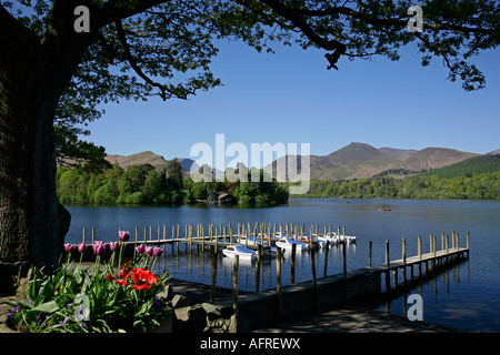 Derwentwater towards Cat Bells & Causey Pike in spring early morning - Stock Photo