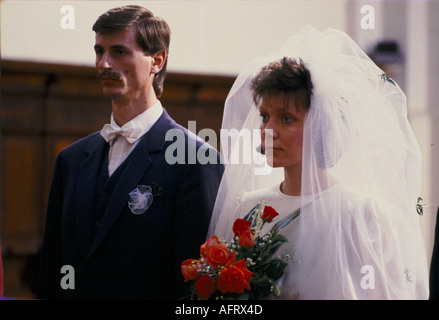Riga Latvia 1980s A Baltic State country part of the USSR. A young couple in the Cathedral  being married. 1989 - Stock Photo