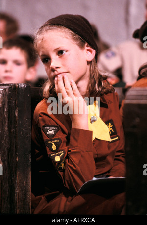 Young Brownie also know as junior Girl Guides in uniform badges UK HOMER SYKES - Stock Photo