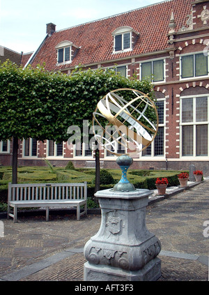 Sundial in the Courtyard of the Frans Hals Museum In Haarlem Netherlands - Stock Photo