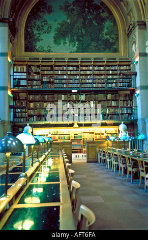Paris France Main National Public Library Empty Reading Room, Interior 'Bibliotheque National' Richelieu 'Rows of - Stock Photo