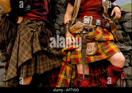 Scottish tartan kilts being worn. Scotland HOMER SYKES - Stock Photo