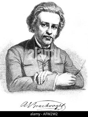 Brachvogel, Albert Emil, 29.4.1824 - 27.11.1878, German author/writer, half length, engraving by A. Weger, 19. Jahrhundert, - Stock Photo