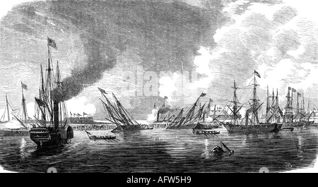 events, Second Opium War 1856 - 1860, attack against the Taku forts, 20.5.1858, engraving, 'Die Glocke', Leipzig, - Stock Photo