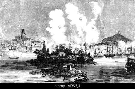 events, Second Opium War 1856 - 1860, bombardemnet of Canton, 28.12.1857, engraving, 19th century, British and French - Stock Photo