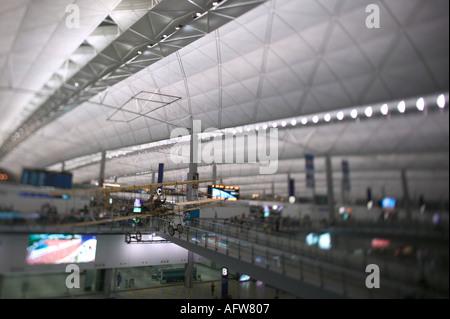 departure area at Hong Kongs Chek Lap Kok airport - Stock Photo