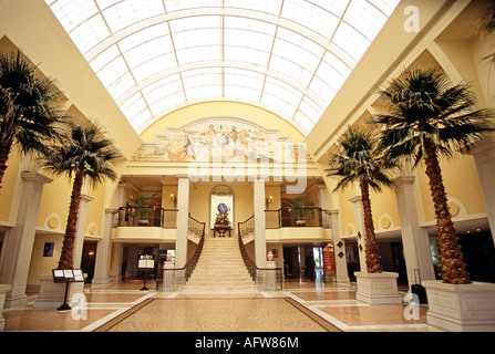 Lobby of the British Colonial Hilton Hotel in Nassau Bahamas - Stock Photo