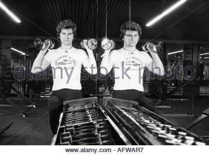 Martin, Ulli, * 19.7.1946, German singer, (pop songs), half length, working out at a gym, Hamburg, 1970s, Additional - Stock Photo