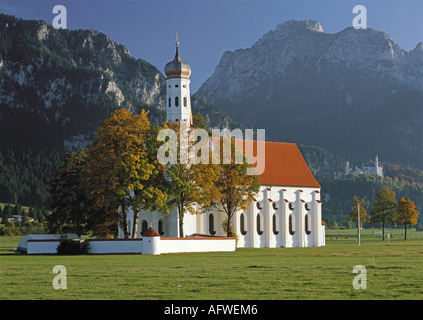 architecture, churches and convents, Germany, Bavaria, Saint Coloman, exterior view, 1673 - 1678, built by Johann - Stock Photo