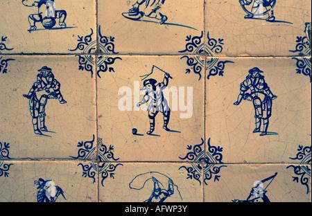 Netherlands Delft Delftware tiles in museum called Lambert van Meerten - Stock Photo