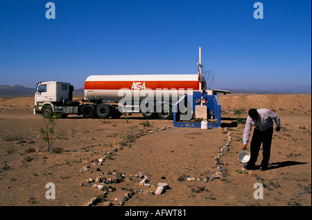 ROAD TO ATACAMA DESERT A LORRY DRIVER WATERS PLANTS AT A SHRINE TO 46 PEOPLE KILLED IN A ROAD ACCIDENT IN 1996 - Stock Photo