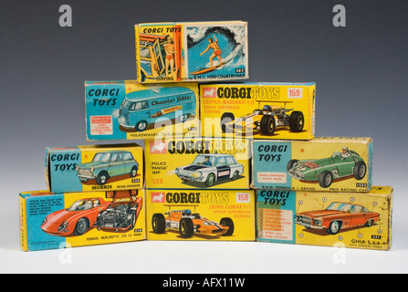 Collection of Corgi die-cast model car boxes - Stock Photo