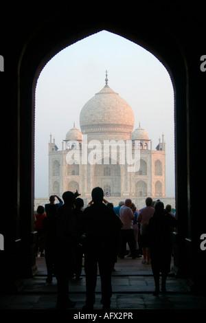 The Taj Mahal at Dawn - Stock Photo