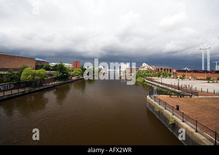 Manchester Ship Canal, from Trafford Road Bridge towards the Lowry Bridge, Salford Quays, Manchester, UK - Stock Photo
