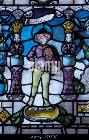 Netherlands Delft Leaded window in museum called Lambert van Meerten - Stock Photo