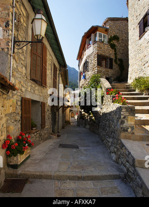 Village, France - Narrow cobbled alleyway in Bairols mountain village, above the Tinee Valley, Alpes Maritimes, - Stock Photo
