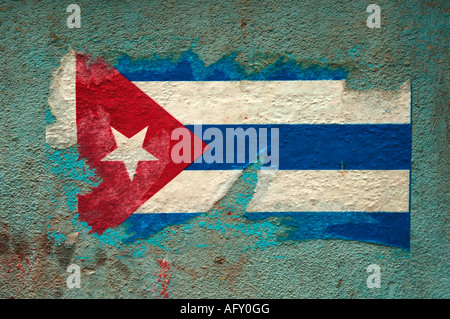 Cuba Havana Habana Vieja the faded Cuban national flag painted on a wall - Stock Photo
