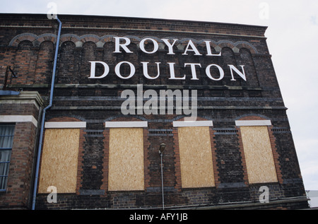 Boarded-Up Windows at The Royal Doulton Factory In Nile Street Burslem Stoke-on-Trent - Stock Photo