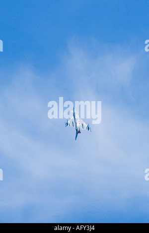 Eurofighter Typhoon F2 Royal Air Force flies upside down in steep climb in blue sky Fairford - Stock Photo