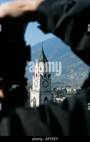 Meran Pfarrkirche parish church of Merano - Stock Photo