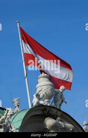 AUSTRIAN FLAG IN BELVEDERE PALACE. VIENNA, AUSTRIA - Stock Photo