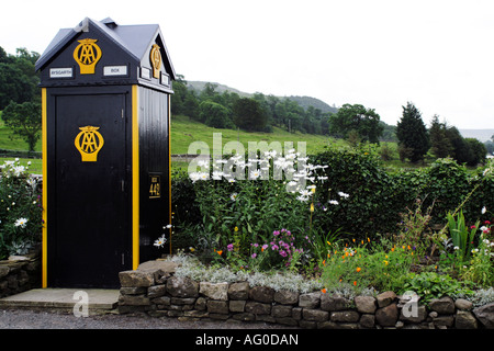 An AA motorists emergency telephone box at Aysgarth in Wensleydale Yorkshire UK - Stock Photo