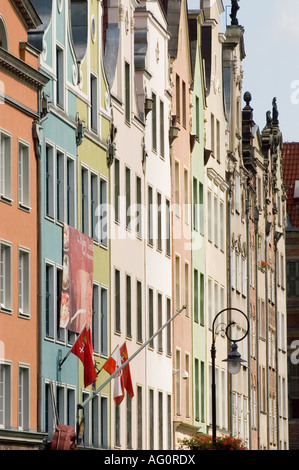 Row of heritage hanseatic tenement houses on Dlugi Targ or Long Market in Gdansk, Poland - Stock Photo