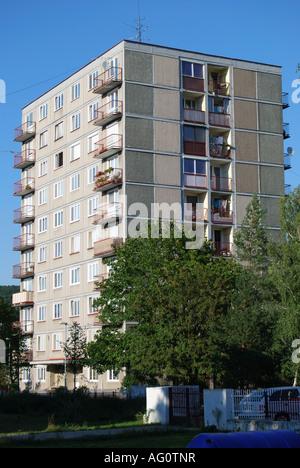 Apartment block, Trencin, Trencin Region, Slovakia - Stock Photo